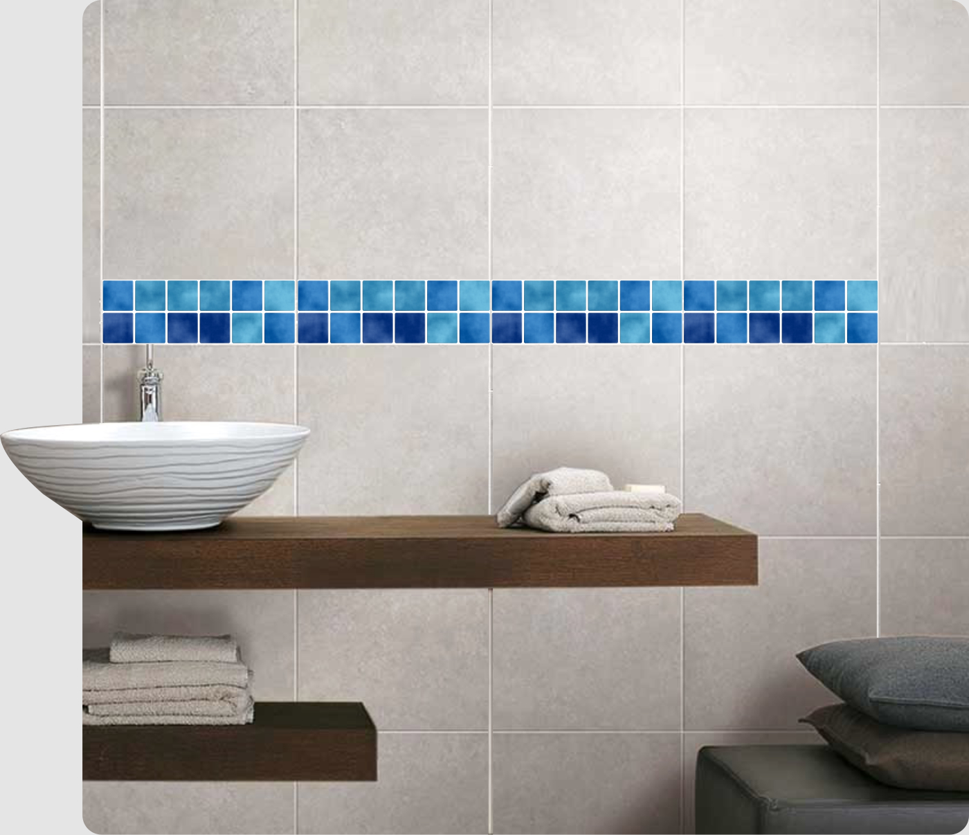 Details zu Mosaik Bordüre Blau Fliesenaufkleber Fliesenbild Fliesen Sticker  Fliesenimitat